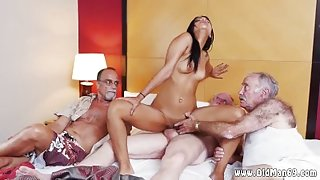 Teen swallows old man cum and old granny lesbian first time Staycation
