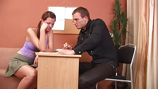 Sexgirl is under the cruel punishment from the tutor