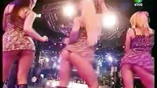 Music performance with five hot girls showing their up skirts assets