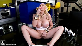 Girl with red lipstick on her face and mighty jugs rubs her clit