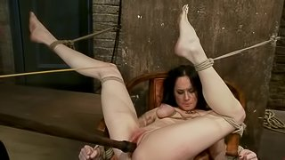 Vibration pleasures for a tied up bunny Scarlet
