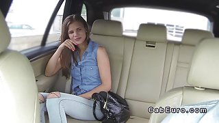 Cute Euro teen bangs in fake taxi pov till creampie
