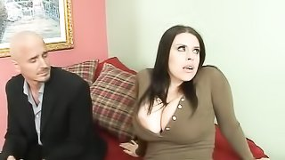 Cheating brunette wife in brown dress with massive tits and big nipples sucks and fucks guy's cock.