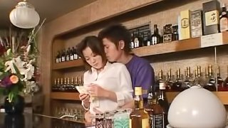 At the hotel bar a Japanese businesswoman meets a guy and fucks him