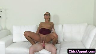 Female agent rides auditioning males cock
