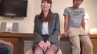 Asian babe is fucked silly by one of her coworkers in the office