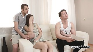 Bankrupt lover lets nasty mate to penetrate his girlfriend f