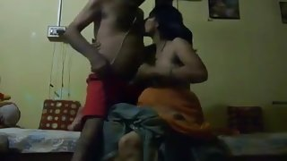 Hot pregnant Indian gives BJ and rimming her husbands ass
