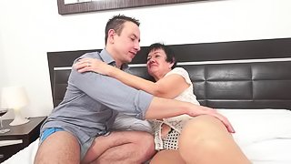 Granny pussy licked and fucked by an eager young guy