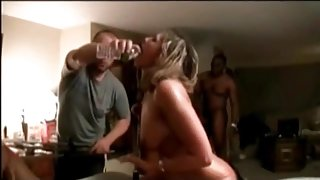 Cuckold MILF in interracial gangbang party Sissy watches