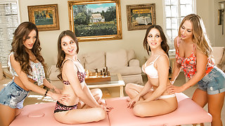 Carter Cruise, Riley Reid, Jenna Sativa, Chloe Amour in Massage Class Secrets Part Three: The Final Test Scene