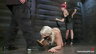 Thin Blonde Licking Boots And Being Whipped