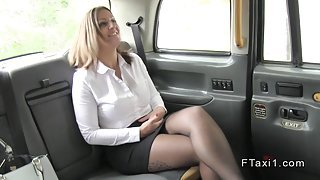 Busty bussines woman fucks in cab