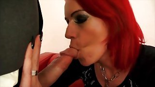 Dyed hair babe Anica Red sucks a dick and screws