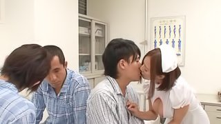 Amazing Japanese nurse takes a facial cumshot after being tit fucked