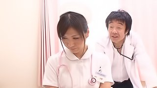 A Japanese nurse gets fucked by a doctor in a hospital