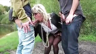 French milf DP outdoors