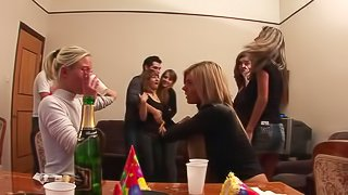 Babes gone wild in group sex party