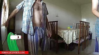 Eats pussy in the kitchen and puts a vibrator