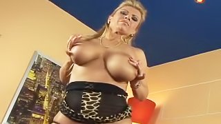 Busty blonde is being fucked hard
