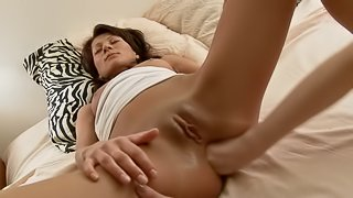 Eye catching lesbians enjoy toy fucking and fisting nicely in this POV scene
