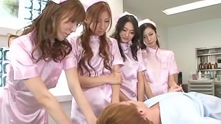 Four Japanese nurses share some dude's dick in a hospital ward