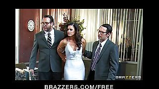 Busty slutty brunette India Summer is gangbanged by two cops