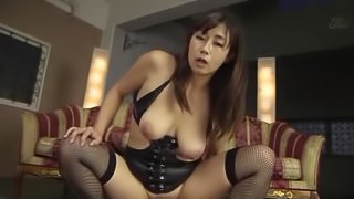 Japanese floozy Miyabe Suzuka pleases a cock with hands and tits