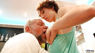 Hairy young pussy banging an old man!