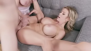 Greey wives sharing with passion during wild threesome