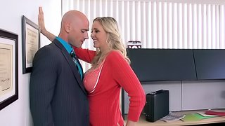 Sexy Blonde Cougar With Long Hair Getting Drilled In The Office