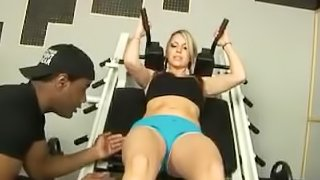 big boob blond working out gets poked by monster black cock
