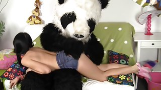 role-playing with a toy bear with a giant by a schlong