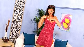 Cute brunette Lucky blows and gets her shaved vag pounded
