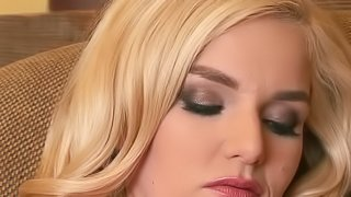 A blonde with a hot ass is displaying her hairy cunt for us