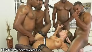 DevilsFilm Britney Amber's 4 on 1 BBC Gangbang and Jizz Shower