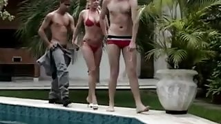 Blond Woman gets Lucky Poolside With Two Bi Men!