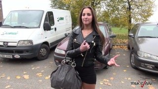 Takevan - Horny brunette agree with ride for hard fuck and creampie
