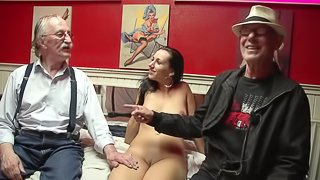 Hot hooker in lingerie eaten out by a dirty grandpa