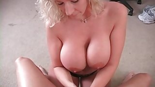 Hot handjob from sexy milf Sara Jay
