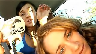 Three amateur whores do dirty things in the real bang bus