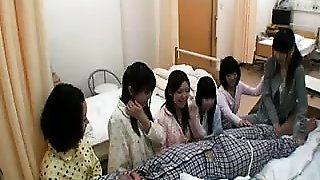 Five gals visit their friend in the hospital and give him a