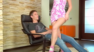 Russian filly Jana C loves sucking and riding on a thick dong