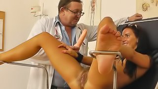 Hairy babe checked by the doc