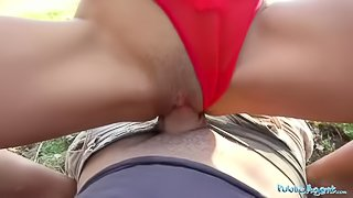 Public Agent Big cock gets blondes tight pussy wet in public forest fuck