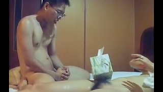 Exposed Nerdy asian guy fucking his hairy pussy GF