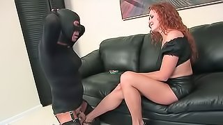 Crossdressing male made to suffer by dominatrix