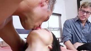 Naked wife fucked in front of her hubby big time