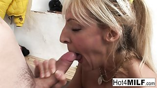 Euro MILF Eva gets cum on her natural tits