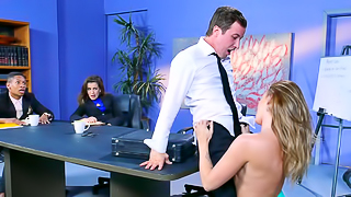 Boss fucks her big cock employee at a company meeting